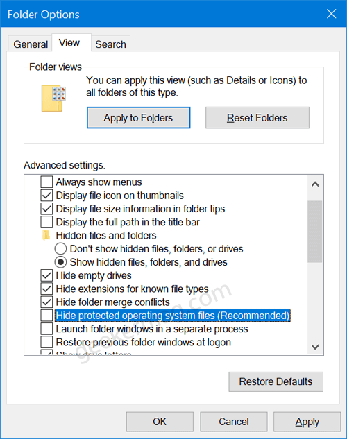 show hide protected operating system files in windows 10
