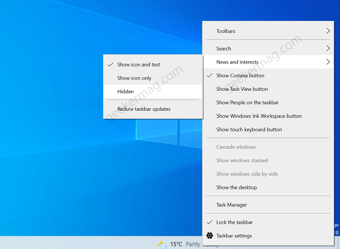 hide news and interest icon in windows 10