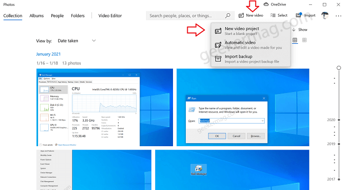 create new video project in windows 10 photos app