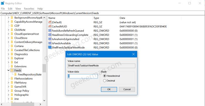 ShellFeedsTaskbarViewMode registry key in windows 10