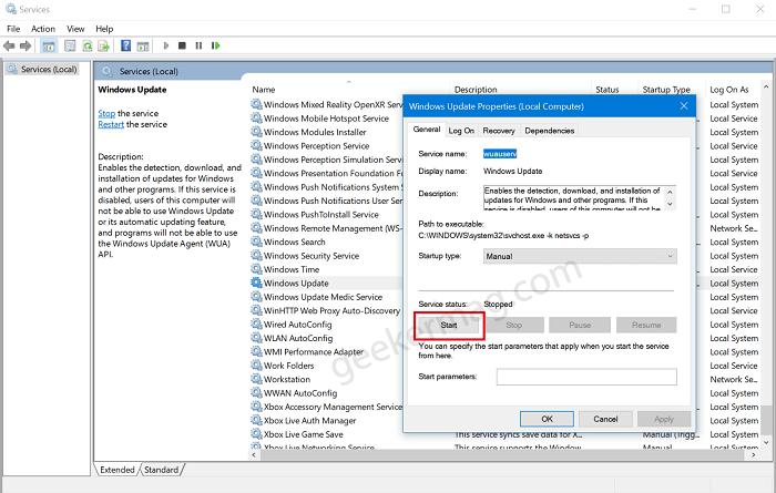 start windows update service in windows 10