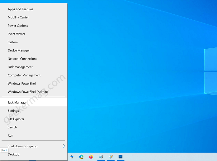 open task manager using winx menu
