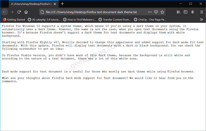 Firefox v87 gets Dark mode support for Text Document