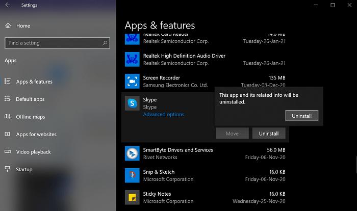 uninstall skype in windows 10