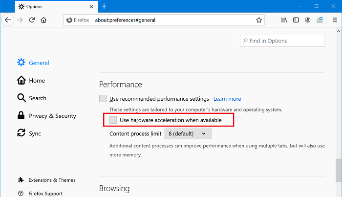 use hardware acceleration when enable in firefox