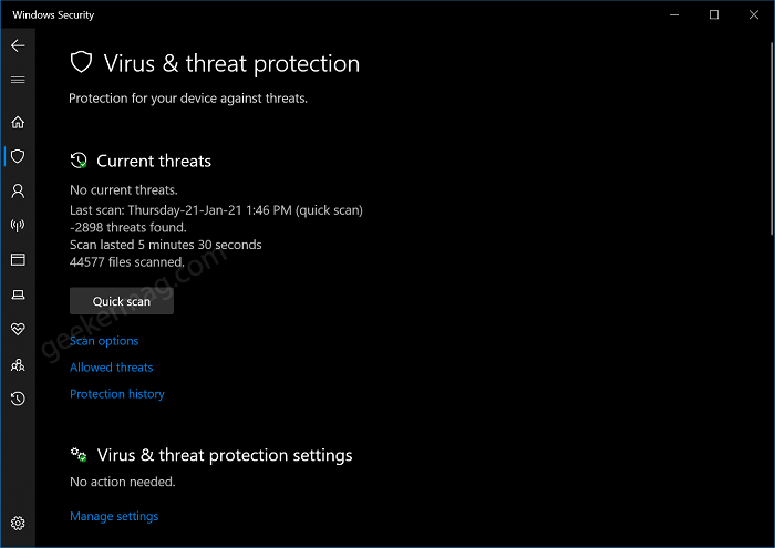 Windows Security - Virus and protection
