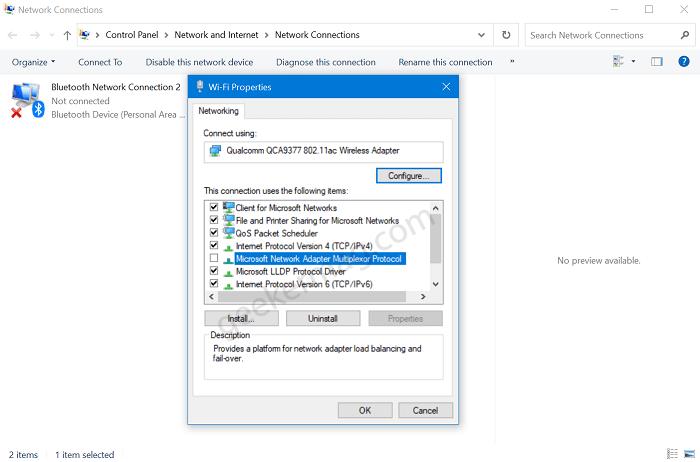 Microsoft Network Adapter Multiplexor Protocol in Windows 10