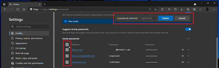 Microsoft Edge let you delete all Saved Passwords at Once