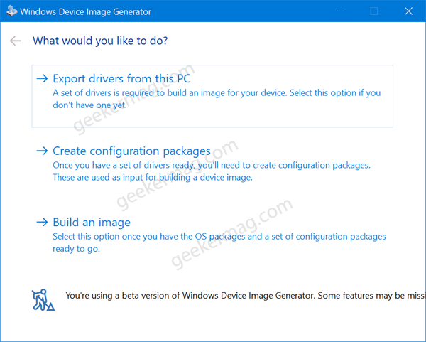 Device image generator - Export drivers from this pc