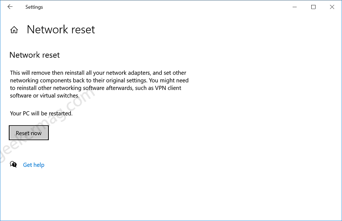 reset network in windows 10