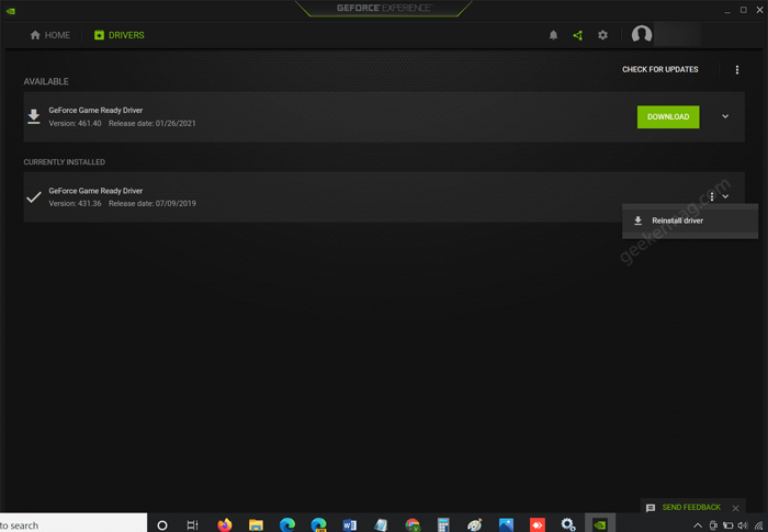 reinstall driver using geforce experience app