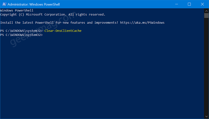 How to Flush DNS Cache in Windows 10 using Windows Powershell