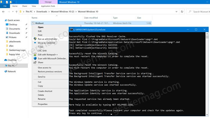 reset windows 10 update service