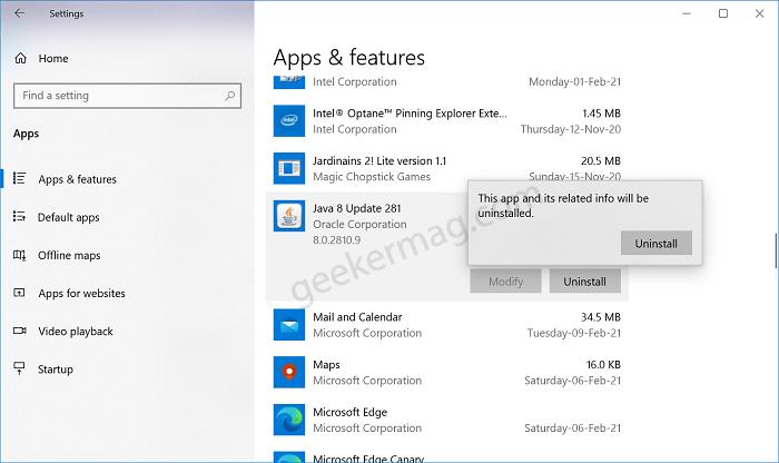 Uninstall Java app from windows 10