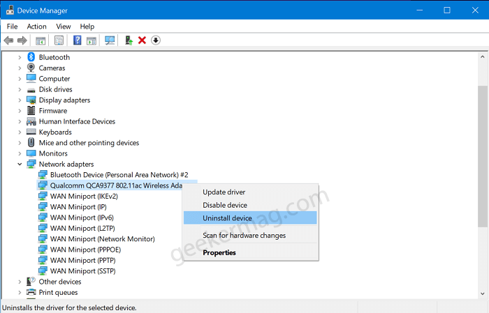 uninstall network driver