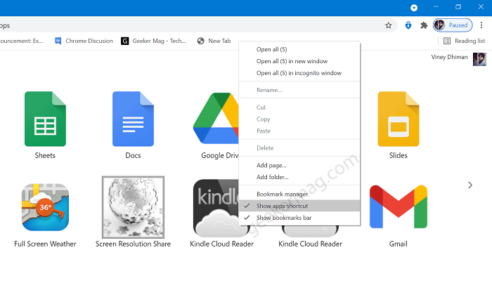 How to Hide 'Apps' button from Chrome Bookmarks Bar