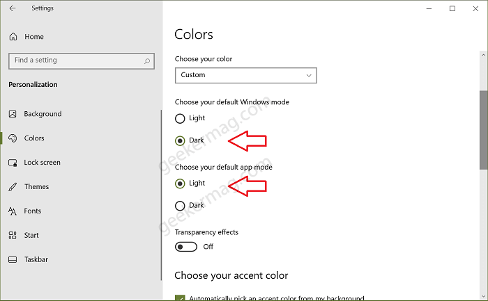 Turn on Default Windows and App mode in windows 10