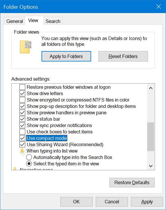 Folder Options in Windows 10