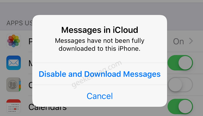 Message in icloud  - Disable and Download Messages