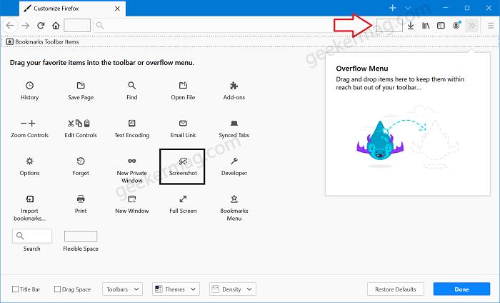 drag- drop screenshot item in Firefox toolbar