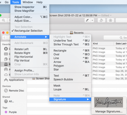 Insert Signature to PDF using Preview app in Mac
