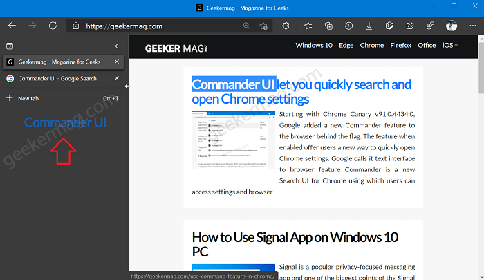 Search the web from Vertical Tab Panel in Microsoft Edge