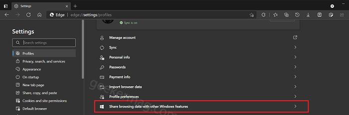 Share browsing data with other Windows feature in Microsoft edge
