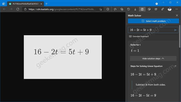 Math Solver - Select math problem in edge