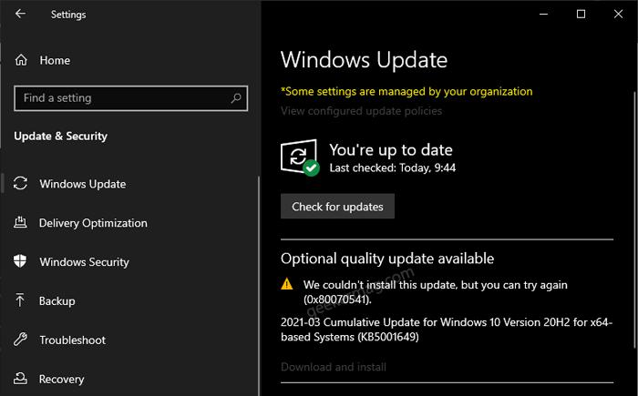 windows 10 update error code 0x80070541 1