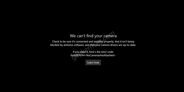 Fix - Windows 10 Camera error code 0xa00f4244