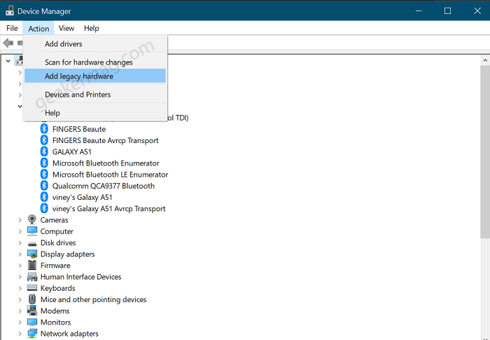 add a legacy hardware in windows 10 device manager