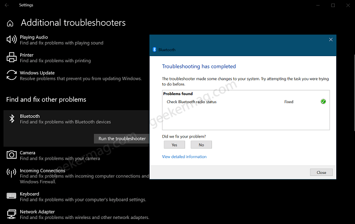 Run Bluetooth Troubleshooter in Windows 10