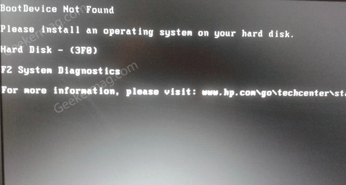 boot media not found 3f0