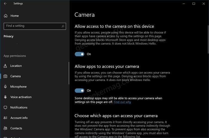 manage camera privacy settings in Windows 10