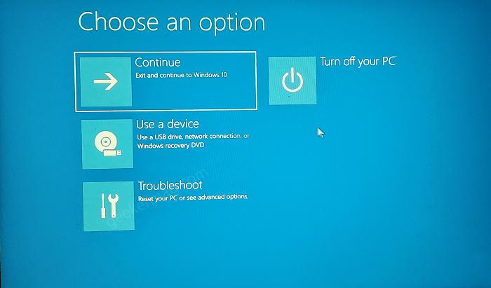 Advanced repair options in windows 10