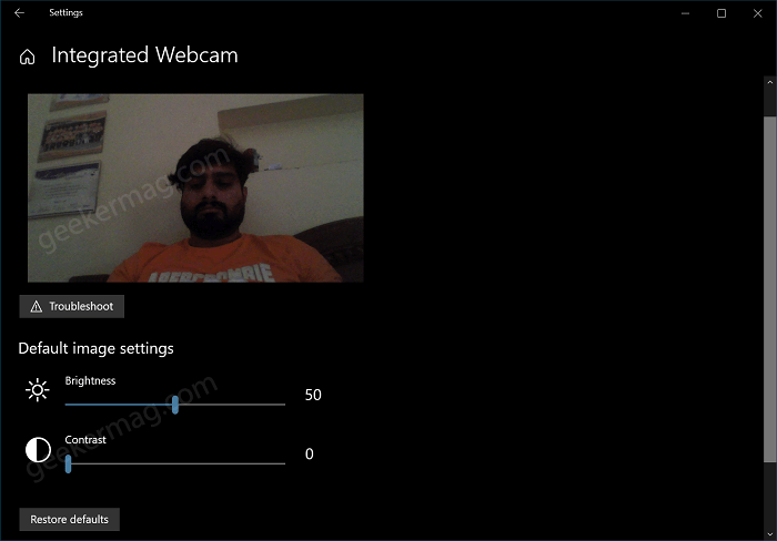 Configure Camera Settings in Windows 10
