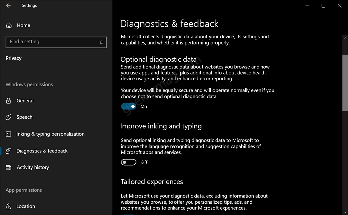 Diagnostic and feedback settings in Windows 10