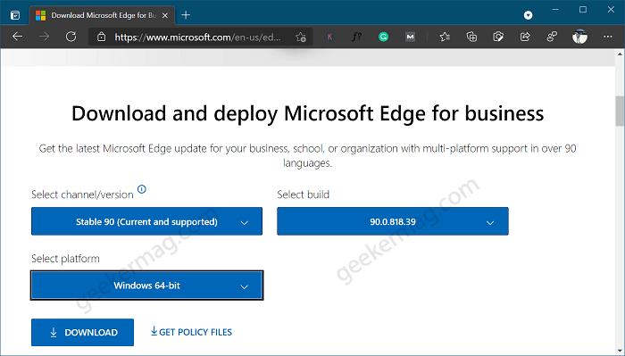 Download Microsoft Edge build 90 MSI Installer