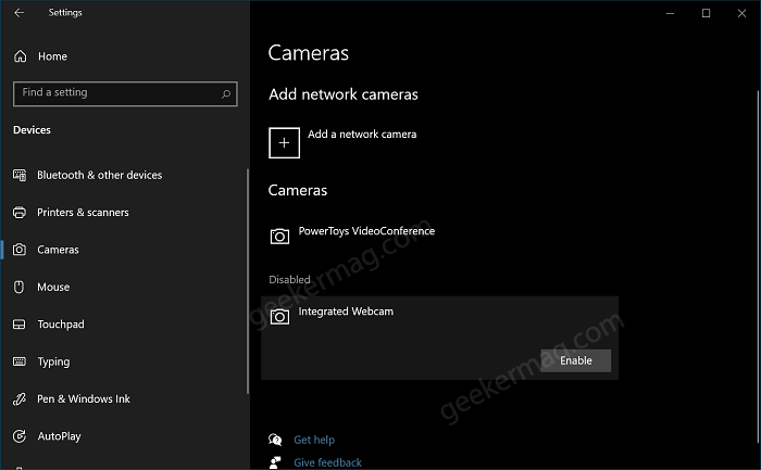 Enable Camera in Windows 10 using Settings app