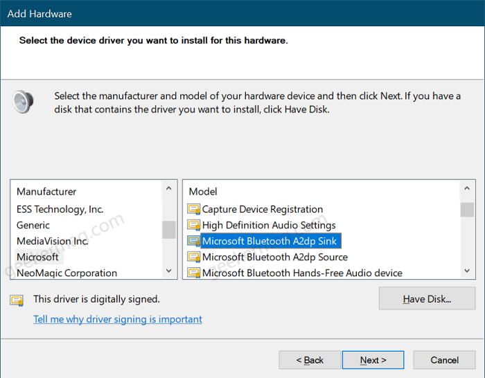 Install Microsoft Generic Bluetooth driver in windows 10