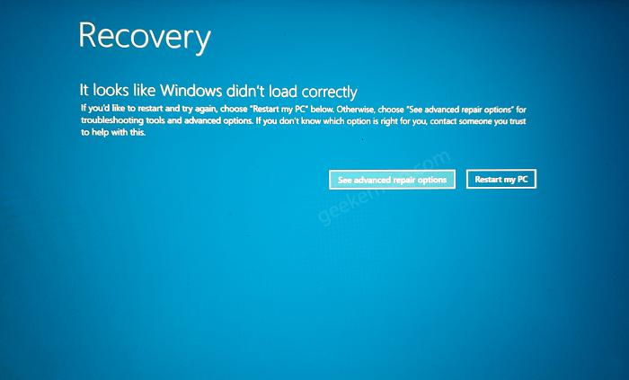 Windows 10 recovery screen