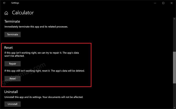reset and repair option in windows 10