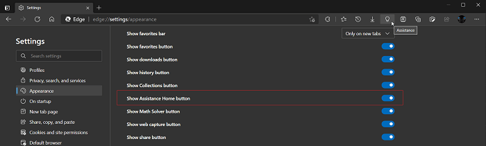 show assistance home button