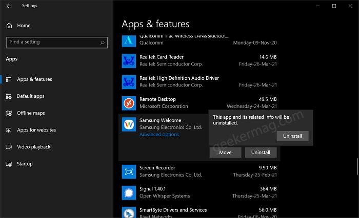Uninstall apps using Settings app in Windows 10