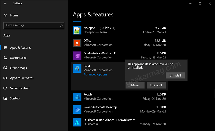 Uninstall Paint app from Windows 10