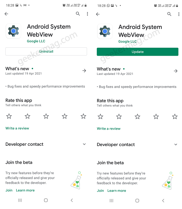 Uninstall and Reinstall Android System WebView