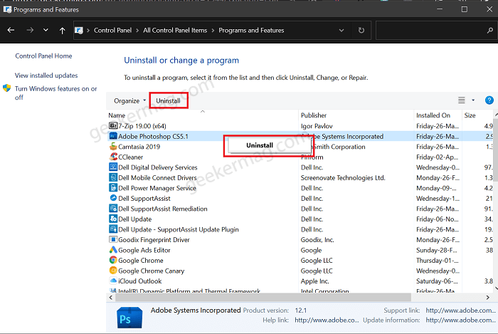 Uninstalling app using Control Panel in Windows 10