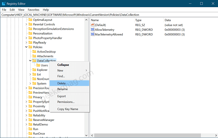 Check The Data Collection Registry Key Settings