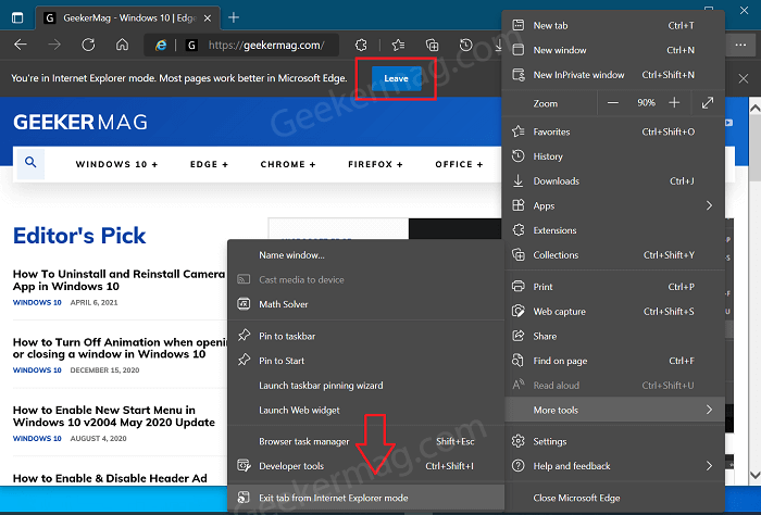 Exit tab from Internet Explorer mode in Microsoft Edge
