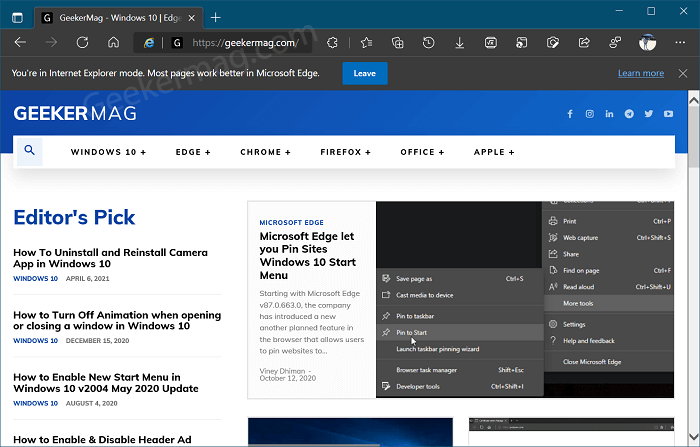 Open site in Internet Explorer within Edge browser